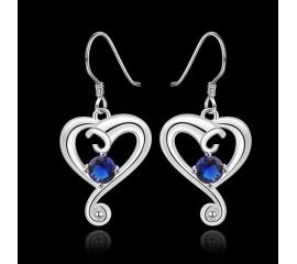 """Auskarai """"Blue Zircon Heart"""""""