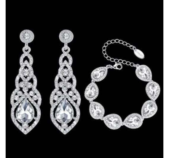 """Auskarai ir apyrankė """"Crystal silver set"""""""