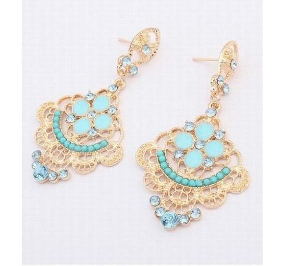 """Auskarai """"Blue Resin Beads"""""""