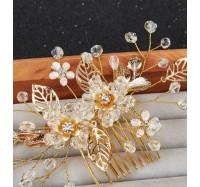"""Vestuvinis plaukų aksesuaras """"Gold flower"""""""