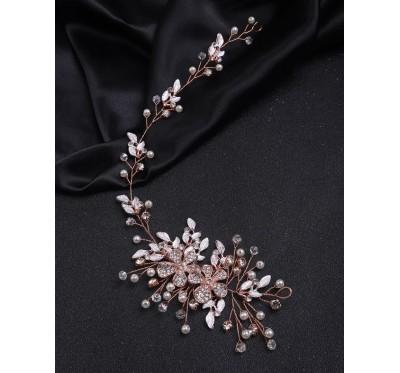 """Nuotakos plaukų aksesuaras """"Rose gold flower tiara"""""""