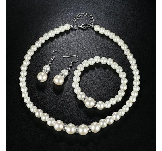 """Auskarai, apyrankė ir kaklo papuošalas """"White Pearl set"""""""